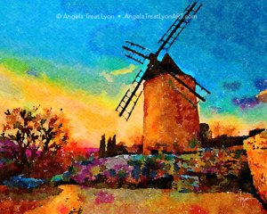 Windmill on A Golden Evening