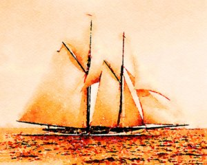Mayflower Heading into the Wind
