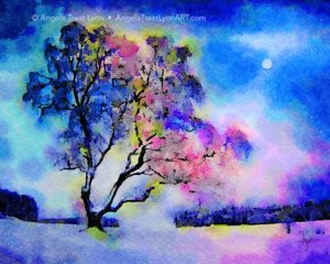 Snow Trees Under the Moon