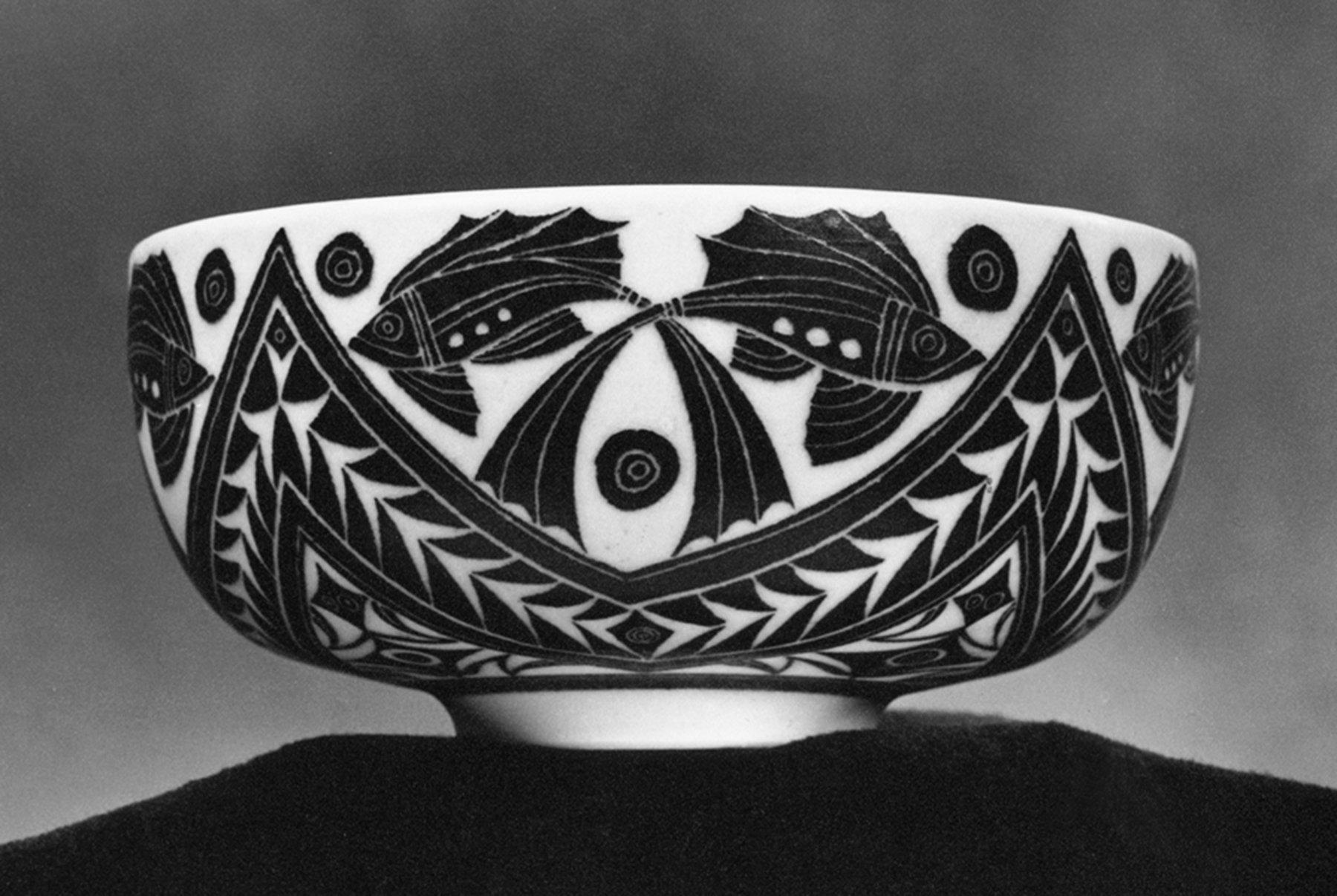 porcelain bowl with fish design